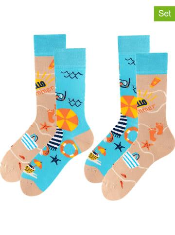 TODO SOCKS 2-delige set: sokken beige/turquoise