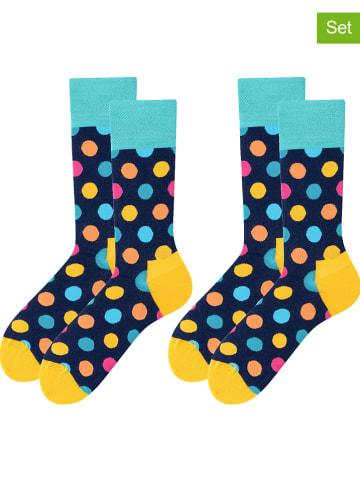 TODO SOCKS 2-delige set: sokken donkerblauw/meerkleurig