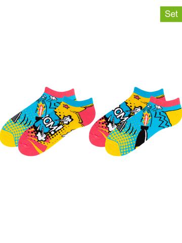 TODO SOCKS 2-delige set: sokken lichtblauw/geel