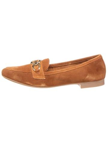 CAFèNOIR Skórzane slippersy w kolorze jasnobrązowym