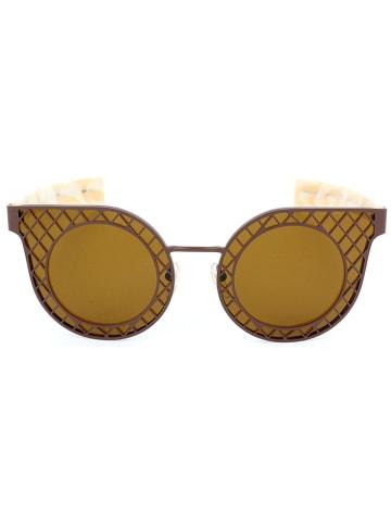 Salvatore Ferragamo Damskie okulary przeciwsłoneczne w kolorze kremowo-brązowym