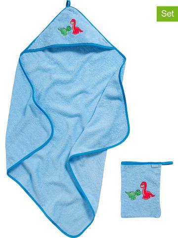 Playshoes 2-częściowy zestaw: ręcznik z kapturem i myjka w kolorze błękitnym