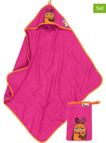 Playshoes 2-częściowy zestaw: ręcznik z kapturem i myjka w kolorze różowym