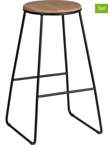 """Wenko Hockery barowe (2 szt.) """"Loft"""" w kolorze jasnobrązowo-czarnym - 42 x 70 x 42 cm"""