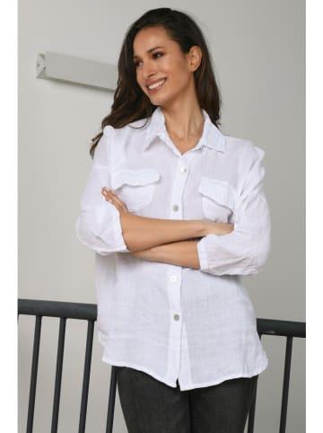 "La Compagnie Du Lin Linnen blouse ""Azalee"" wit"