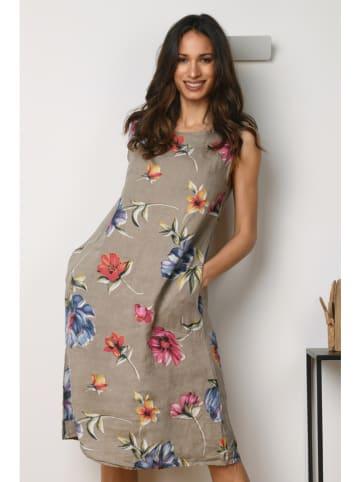 """La Compagnie Du Lin Lniana sukienka """"Orchidee"""" w kolorze szarobrązowym"""