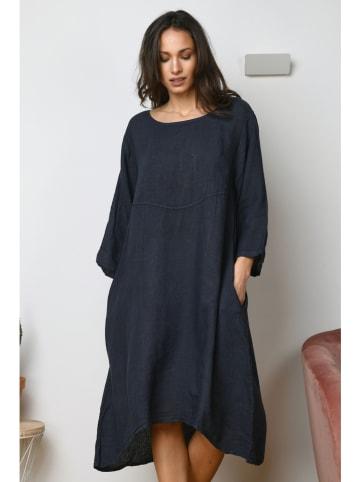 """La Compagnie Du Lin Linnen jurk """"Trefle"""" donkerblauw"""