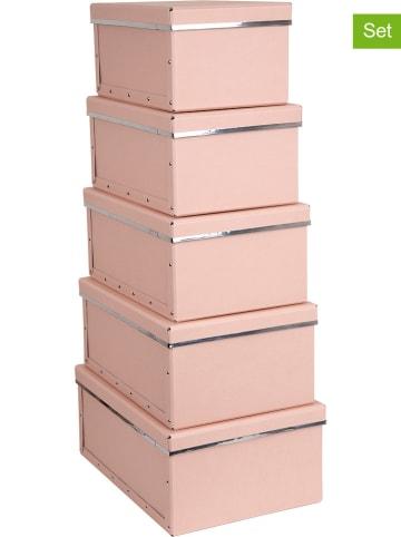 """BigsoBox Pudełka (5 szt.) """"Joachim"""" w kolorze jasnoróżowym"""