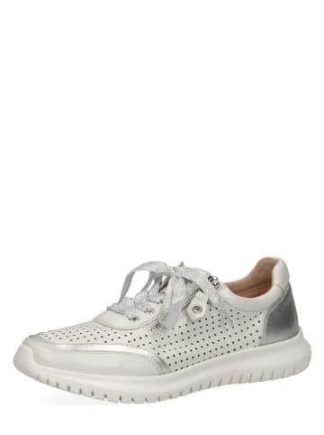 Caprice Leder-Sneakers in Weiß/ Silber