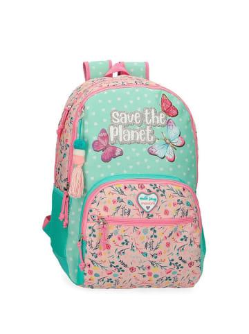 Movom Plecak w kolorze miętowo-różowym ze wzorem - (S)33 x (W)45 x (G)17 cm