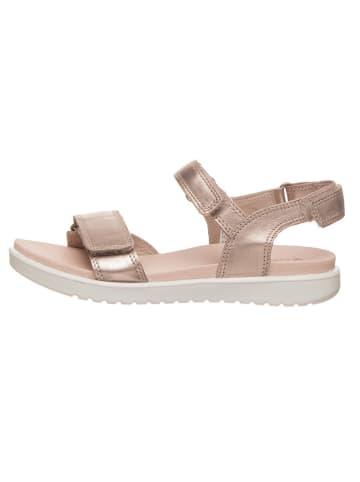 """Ecco Skórzane sandały """"Flora"""" w kolorze srebrnym"""