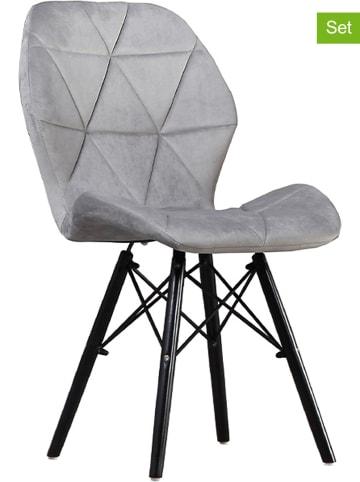 "Maison Montaigne 4er-Set: Esszimmerstühle ""Slideco"" in Grau - (B)59 x (H)83x (T)49 cm"