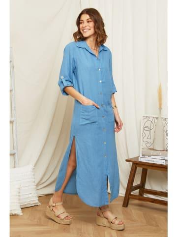 Rodier Lin Lniana sukienka w kolorze błękitnym