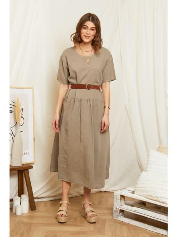 Rodier Lin Leinen-Kleid in Taupe