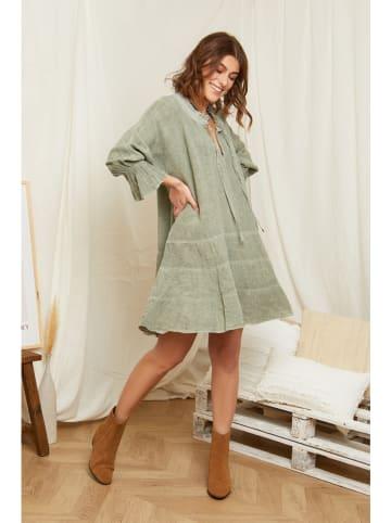 Rodier Lin Leinen-Kleid in Oliv