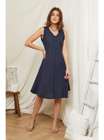 Rodier Lin Linnen jurk donkerblauw