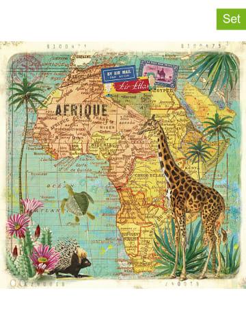 """Ppd 2-delige set: servetten """"Travel to Africa"""" meerkleurig - 2x 20 stuks"""