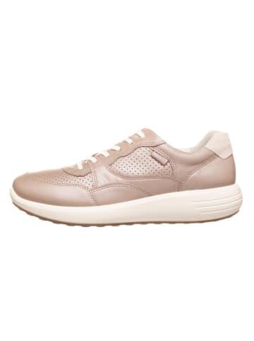 "Ecco Skórzane sneakersy ""Soft 7 Runner W"" w kolorze beżowym"
