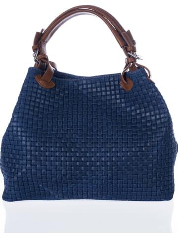 Lucca Baldi Leren handtas donkerblauw - (B)45 x (H)37 x (D)15 cm