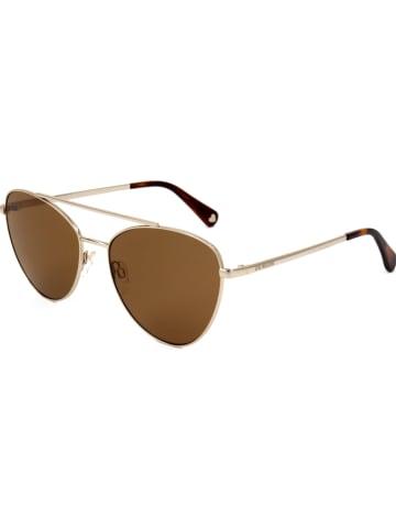Moschino Damskie okulary przeciwsłoneczne w kolorze brązowo-złotym