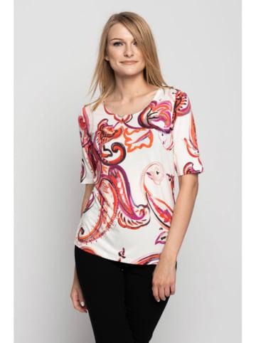 Bialcon Bluzka w kolorze biało-różowym ze wzorem