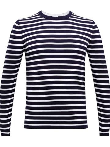 ESPRIT Sweter w kolorze granatowo-białym