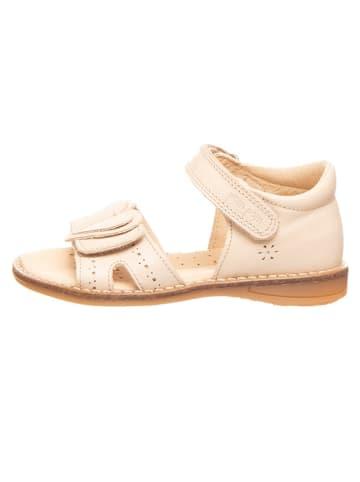 POM POM Skórzane sandały w kolorze kremowym