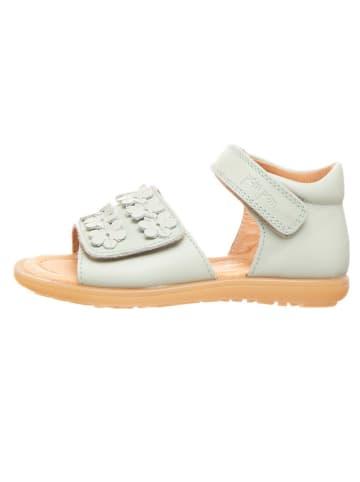 POM POM Skórzane sandały w kolorze miętowym
