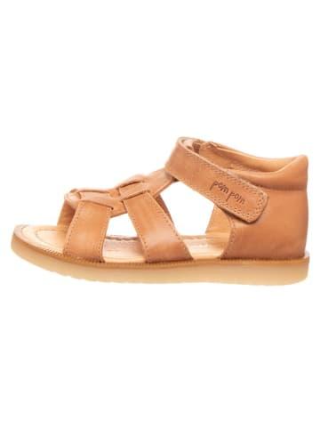 POM POM Skórzane sandały w kolorze karmelowym