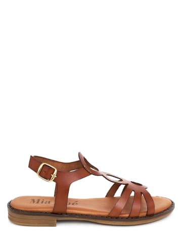 Mia Loé Skórzane sandały w kolorze jasnobrązowym
