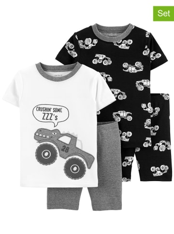 Carter's 2er-Set: Pyjamas in Grau/ Weiß/ Schwarz