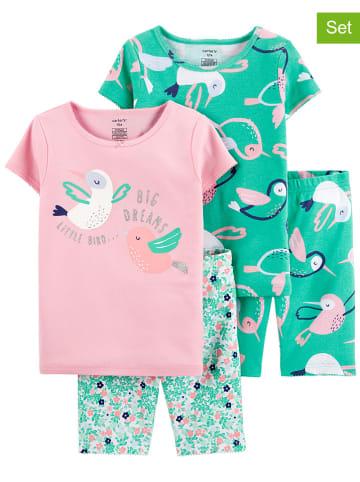Carter's 2er-Set: Pyjamas in Grün/ Rosa