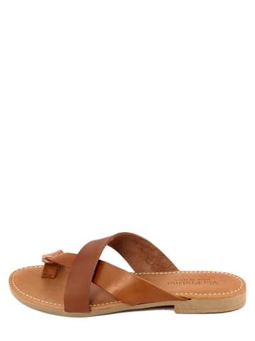 Via Fratina Leren slippers bruin