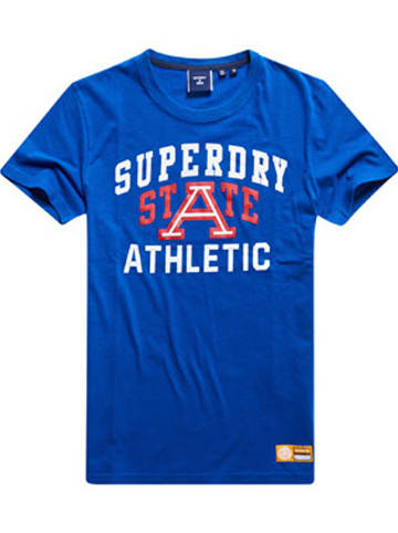 "Superdry Koszulka ""Track & Field"" w kolorze niebieskim"