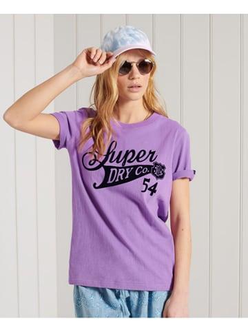 "Superdry Koszulka ""Collegiate"" w kolorze fioletowym"
