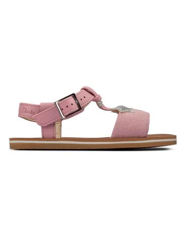 Clarks Leder-Sandalen in Rosa