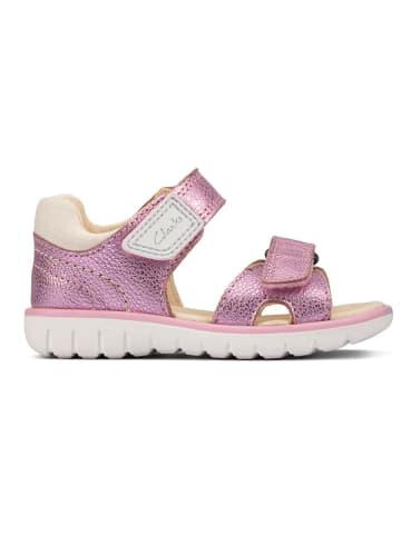 Clarks Skórzane sandały w kolorze jasnoróżowym