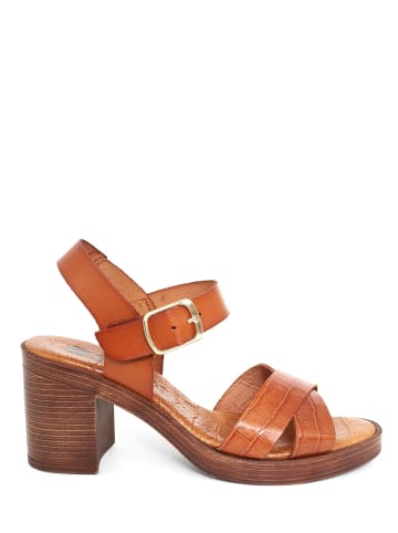Abril Flowers Skórzane sandały w kolorze brązowym