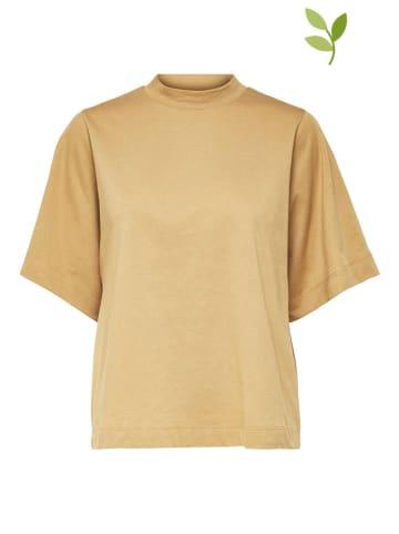 """SELECTED FEMME Koszulka """"Slfpalm"""" w kolorze jasnobrązowym"""