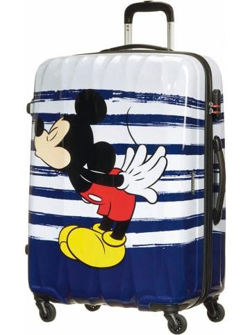 "American Tourister Hardcase-trolley ""Mickey kiss"" blauw/wit - (B)52,5 x (H)75 x (D)31 cm"