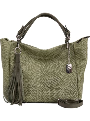 Anna Morellini Skórzany shopper bag w kolorze zielonym - 42 x 30 x 20 cm