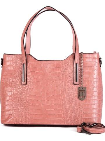 """Lucca Baldi Skórzany shopper bag """"Mirandola"""" w kolorze jasnoróżowym - 42 x 24 x 16 cm"""