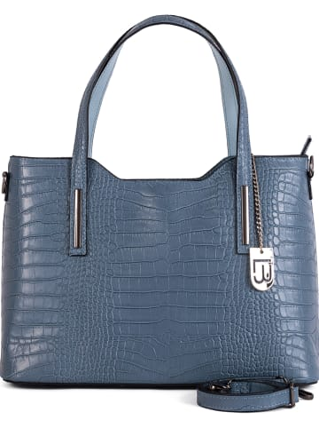 "Lucca Baldi Leder-Shopper ""Mirandola"" in Blau - (B)42 x (H)24 x (T)16 cm"