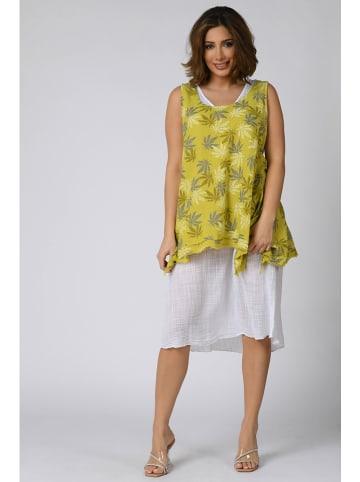 "Plus Size Company Kleid ""Zelie"" in Gelb/ Weiß"