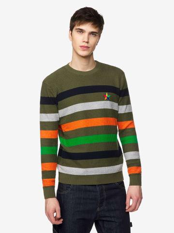 Benetton Sweter w kolorze ciemnozielonym ze wzorem