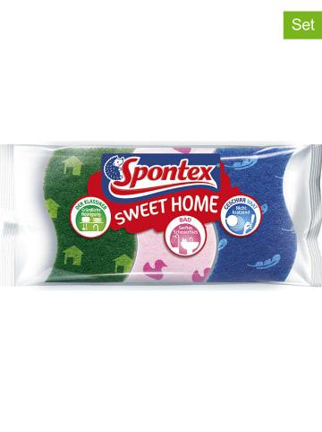 Spontex 4-delige set: schuursponzen groen/roze/blauw, elk 3 stuks