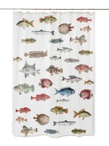 """Madre Selva Zasłona prysznicowa """"Fish in the Ocean"""" w kolorze białym - 200 x 180 cm"""