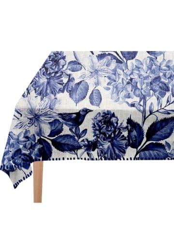 "Madre Selva Tafelkleed ""Blue Birds"" blauw - (L)250 x (B)140 cm"