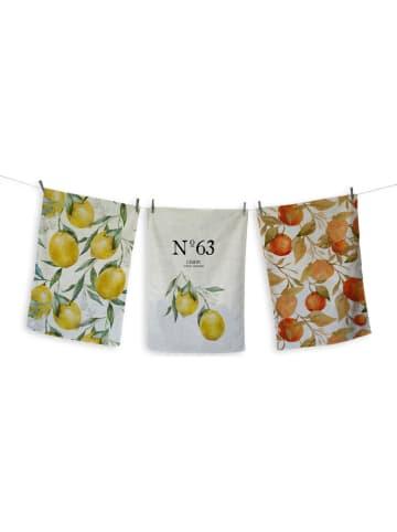 """Madre Selva Ściereczki (3 szt.) """"Lemons"""" ze wzorem do naczyń - 70 x 50 cm"""