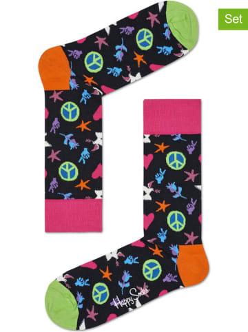 """Happy Socks 2-delige set: sokken """"Peace And Love"""" meerkleurig/donkerblauw"""